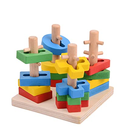 Details about  Wooden Educational Preschool Toddler Toys for 1 2 3 4 5 Year Old
