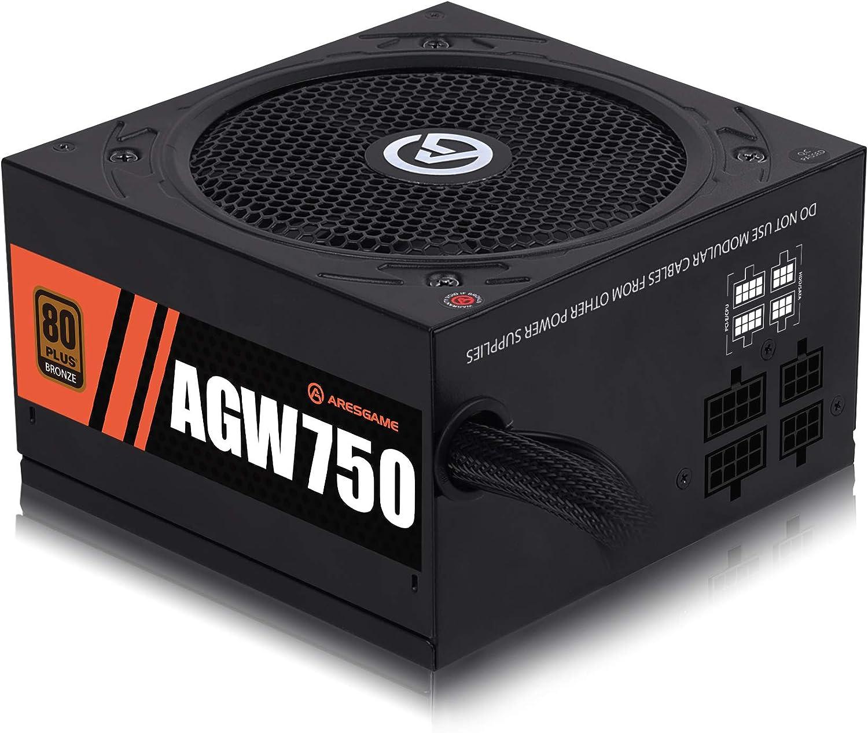 ARESGAME 750W Power Supply Semi Modular 80+ Bronze PSU (AGW750)