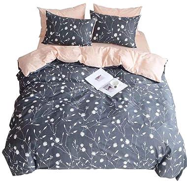 HIGHBUY Lightweight Full Bedding Sets Queen Flower Branches Duvet Cover Set Peach Pink Grey Priemium Cotton Comforter Cover Set Kids 3 Pieces Queen Duvet Cover with 2 Pillowcases,Zipper Closure