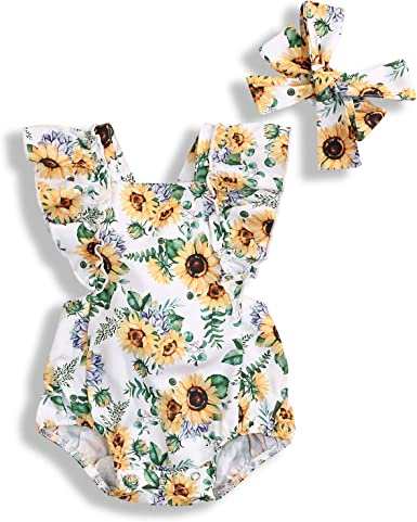 Newborn Baby Girl Floral Romper Ruffle Sunflower Jumpsuit Bodysuit Outfit Summer Clothes Bowtie