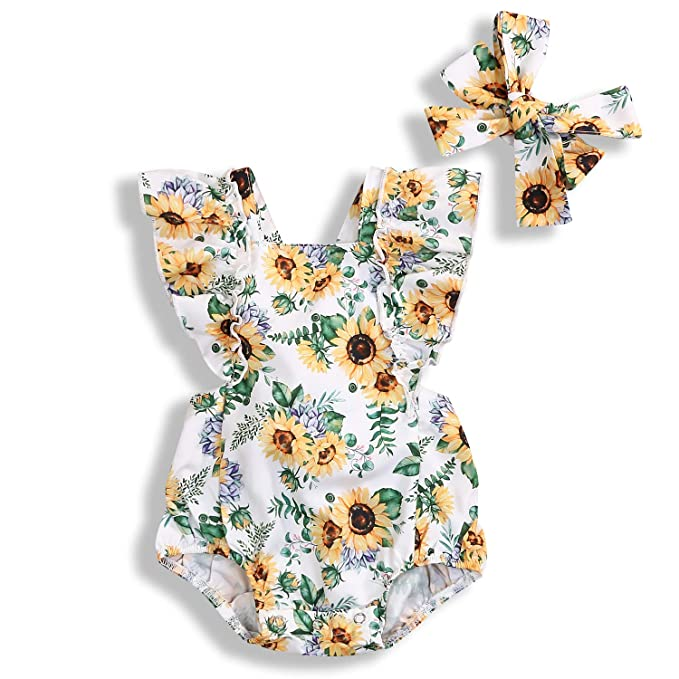 b38bc89e2 Newborn Baby Girl Floral Romper Ruffle Sunflower Jumpsuit Bodysuit Outfit  Summer Clothes Bowtie (0-