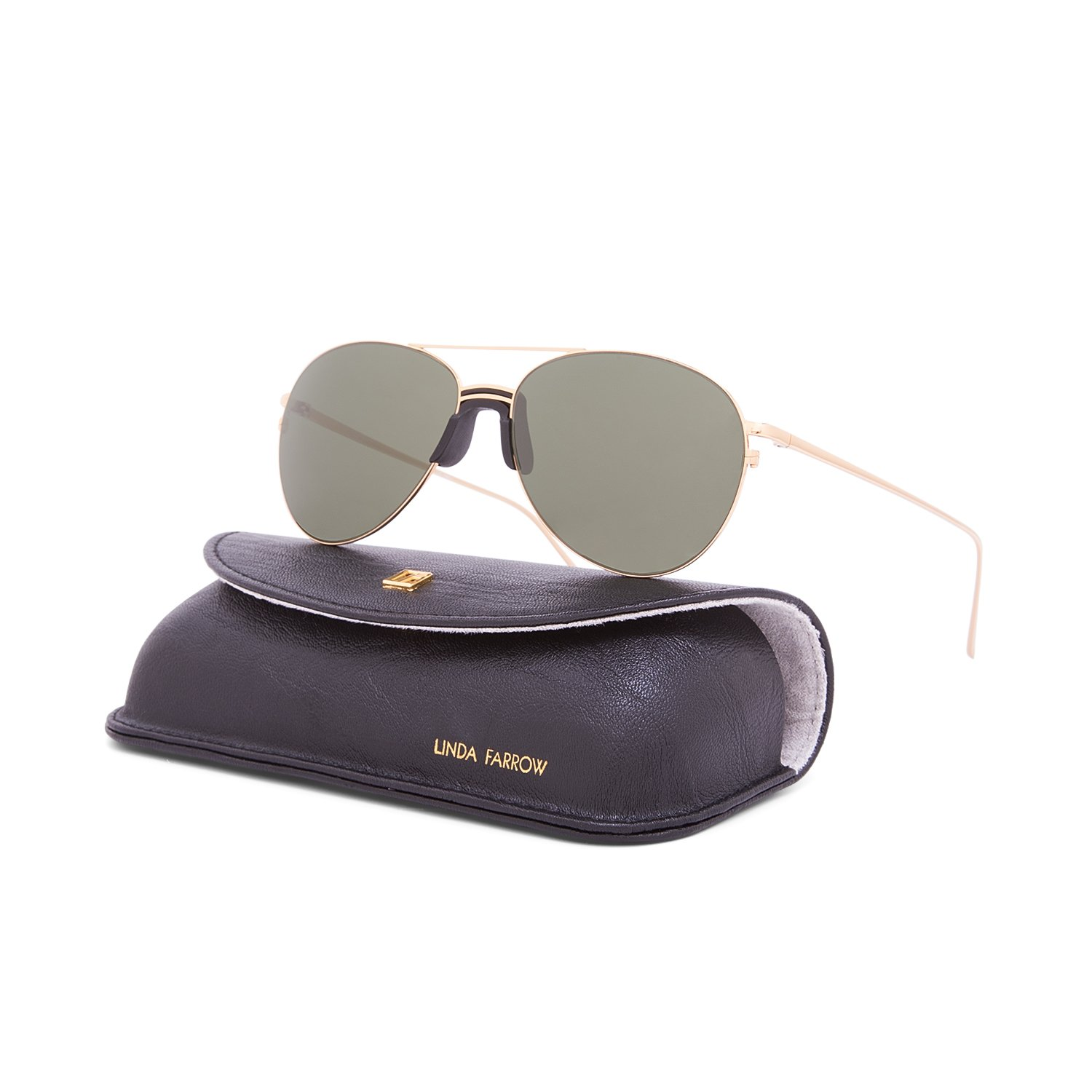 c372ef981519 Linda Farrow Luxe LFL 344 Sunglasses C1 Yellow Gold Frame   Green Lens  Linda  Farrow  Amazon.ca  Clothing   Accessories