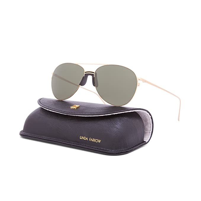 74aae770816 Linda Farrow Luxe LFL 344 Sunglasses C1 Yellow Gold Frame   Green Lens  Linda  Farrow  Amazon.ca  Clothing   Accessories