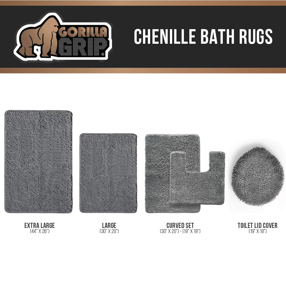 Gorilla Grip Original Luxury Chenille Bathroom Rug Mat (30 x 20), Extra Soft and Absorbent Shaggy Rugs, Machine Wash/Dry, Perfect Plush Carpet Mats for Tub, Shower, and Bath Room (White) by Gorilla Grip (Image #6)