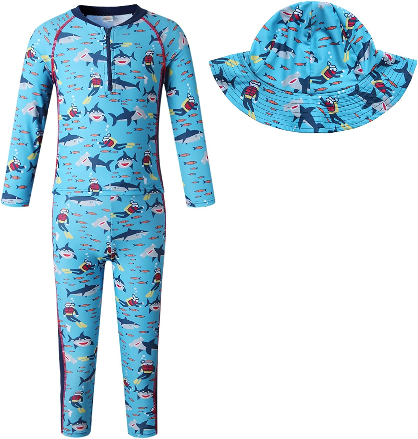 Vivobiniya Baby boy Swimsuits sea Wind Rash Guard Sets with Sun Hats