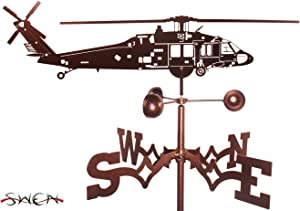 SWEN Products Hand Made Black Hawk Helicopter Garden Stake Weathervane ~New~