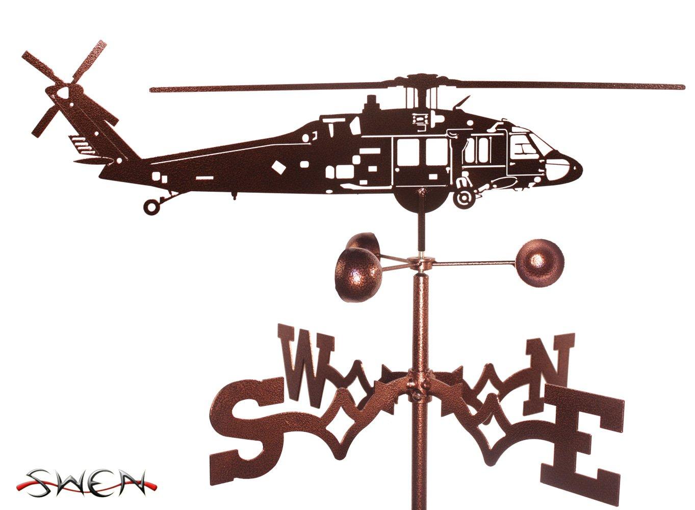 Hand Made BLACK HAWK HELICOPTER GARDEN Stake Weathervane ~NEW~
