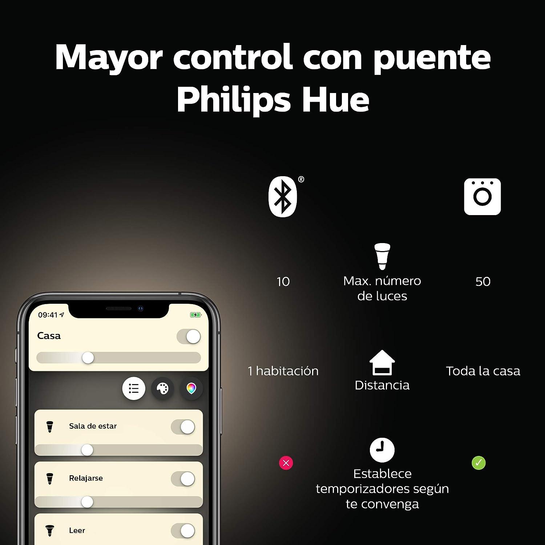 funciona con Alexa y Google Home luz blanca c/álida compatible con Bluetooth y Zigbee Philips Hue White bombilla LED inteligente E14 Puente Hue opcional