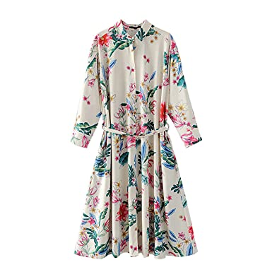 Henraly Women Chic Floral print New Woman long sleeve Slim Fit shirt vestidos at Amazon Womens Clothing store: