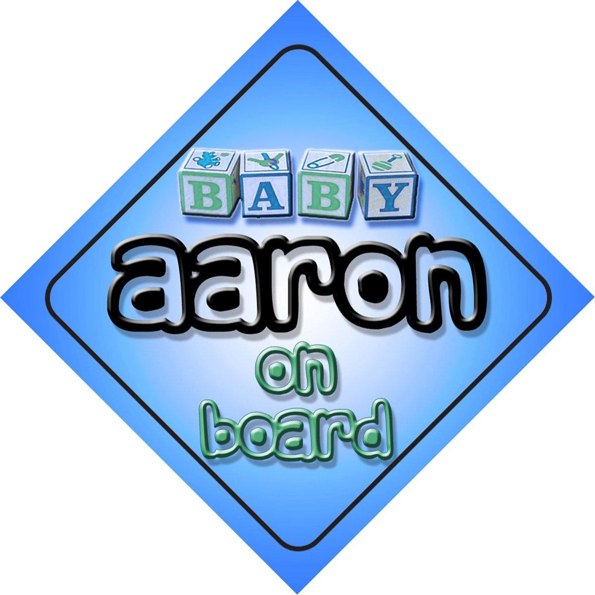 Aaron bébé garçon sur planche nouveauté voiture Panneau cadeau/Cadeau pour nouveau/Nouveau-Né Bébé Enfant