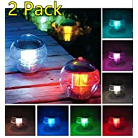 (2 Pack)ECBUY Outdoor Solar Waterproof Color Changing LED Floating Lights Ball Pond Path Landscape Lamp Ball for Swimming Pool Garden and Party Decor Outdoor Landscape Lights Charges Colorful