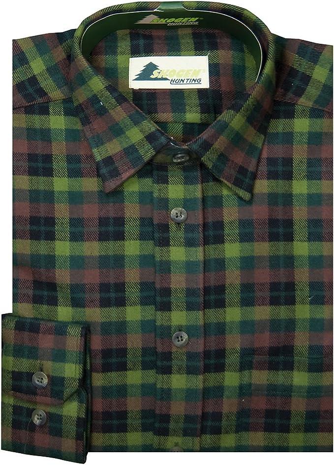 SKOGEN XXL Camisa Manga Larga de Cuadros Escoceses marrón Oliva-Verde: Amazon.es: Ropa y accesorios