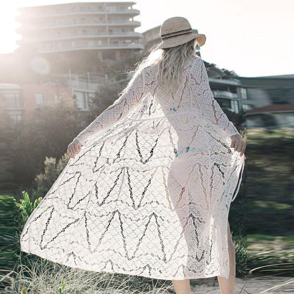 Kimono Femme Dentelle Kimono Plage Boh/ême Beachwear V/êtement de Vacances Gilet Tunique /Ét/é Vestes Gilet Cardigan Manteau Printemps Voyage Couverture Maillot de Bain Cache-Maillots Sarongs Cap Couche
