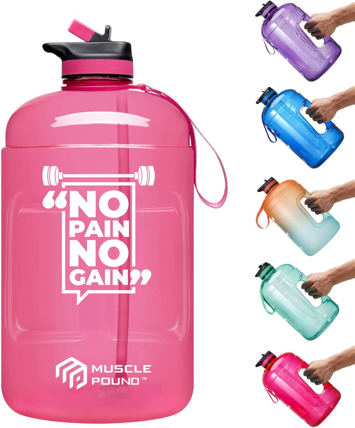 Blue, 128OZ Muscle Pound Gallon Water Bottle with Straw and Strap 128oz 1 Gallon Water Jug BPA Free Motivational Big Large Sports Water Bottle for Gym Fitness