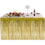 Juan Metallic Foil Fringe Table Skirt Curtain Banner Tinsel Party Table Cover Holiday Supplies Hawaiian Decoration for Festival Christmas Party