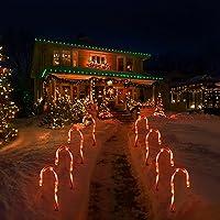 Uonlytech 2 peças de luzes de bengala de Natal para ambientes externos, luzes de caminho, funciona com pilhas…