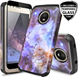 Motorola Moto E4 Case, with TJS [Full Coverage Tempered Glass Screen Protector] Ultra Thin Slim Hybrid Shockproof Drop Protection Impact Rugged Case Armor Cover For Motorola Moto E4 (Stardust)