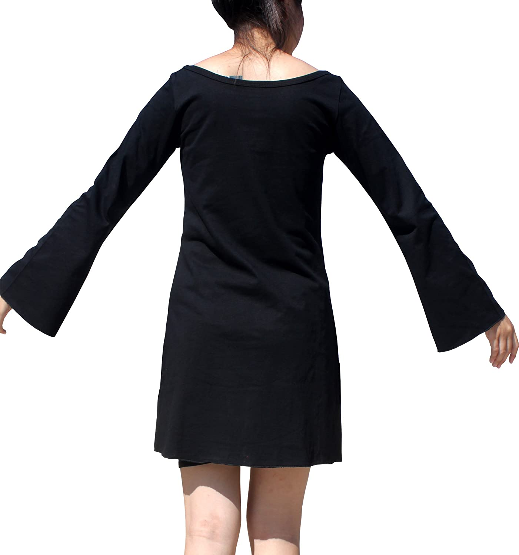Full Funk V-Neck Dress Long Sleeve Circle Pattern Spandex Tubed Witch Sleeves Small Black item562420AMZ