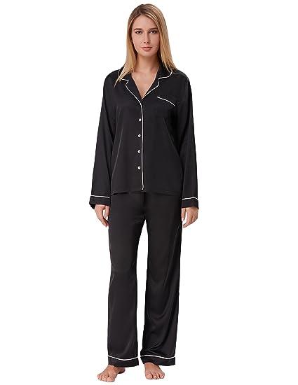 e32fc29012 Zexxxy Women s Long Pyjamas Set Two Piece Button Down Nightwear Black Size S