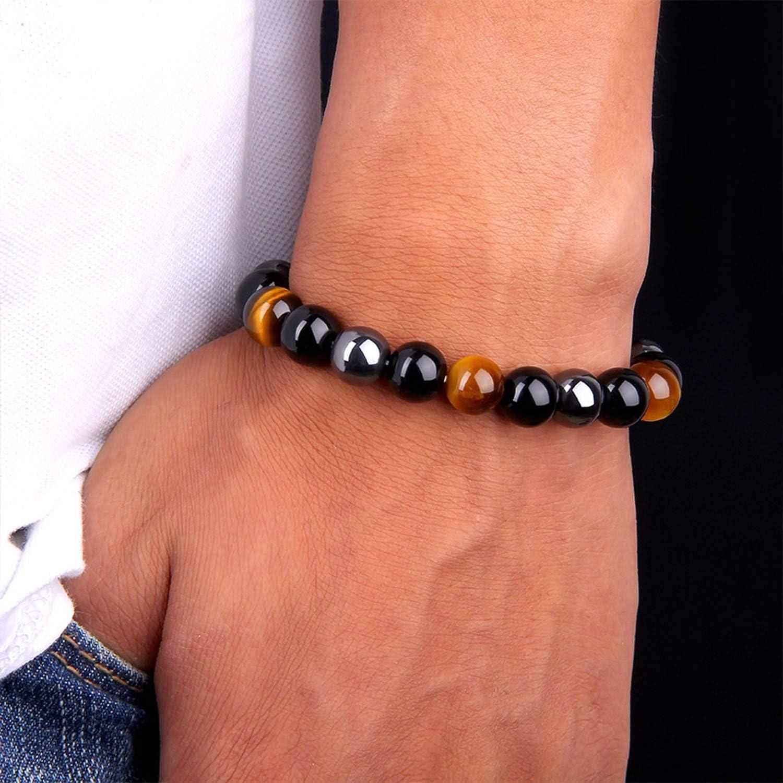 J.F/ée Bracelet Agate Bracelet Oeil de Tigre Bracelet H/ématite Bracelet Triple Protection 8MM Bracelet Hommes Bracelet Cadeau danniversaire Unisexe Saint Valentin F/ête des M/ères