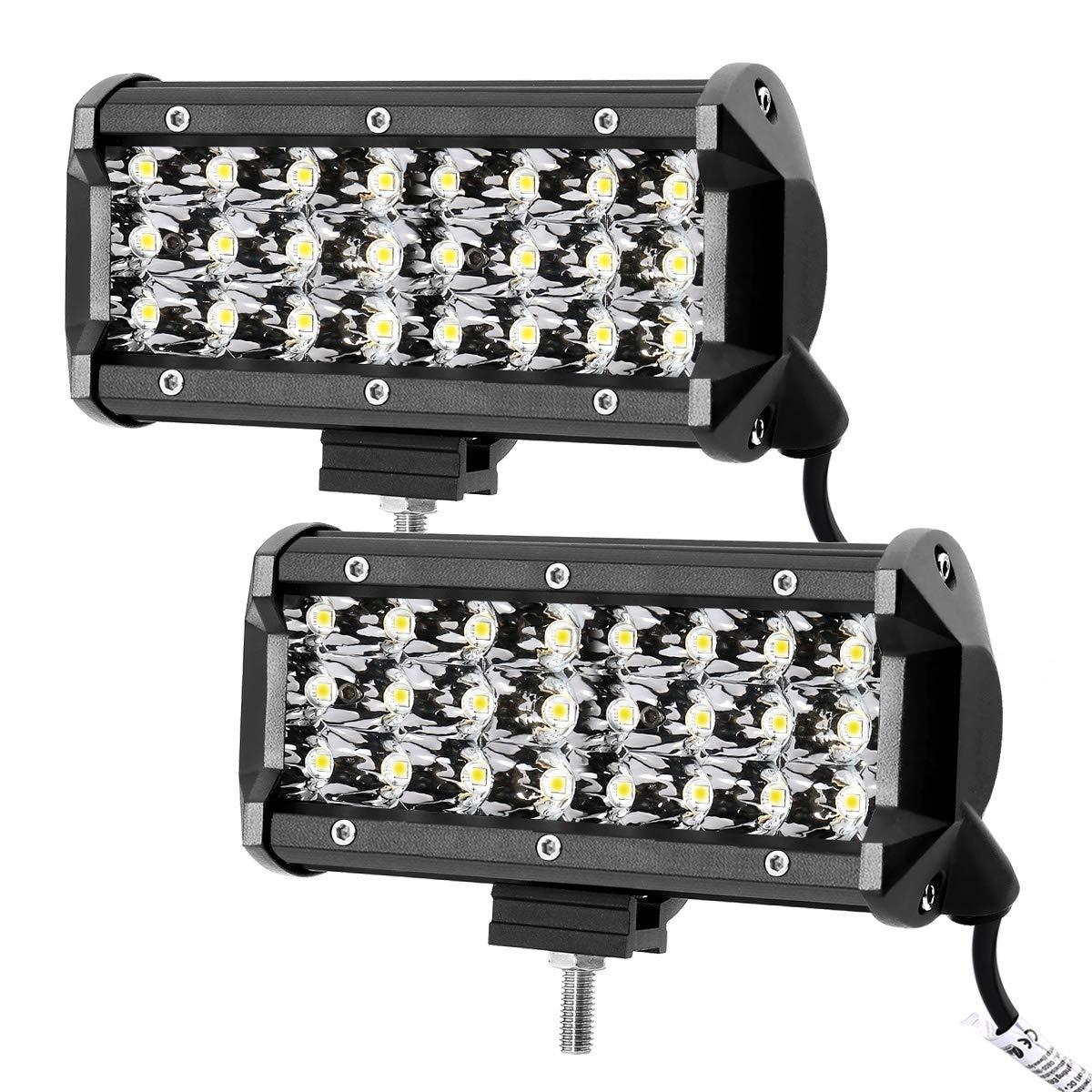 LE 2 Fari LED 72W, fascio di luce combinato, Proiettore Fendinebbia Impermeabile IP67, 7200lm, 6500K per per Fuoristrada Macchina Barca Camper Mezzi pesanti Trattore Lighting EVER 4332996357