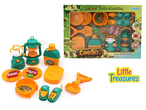 Little Treasures 15Pcs Travel BBQ Play Case - Comes with Serving Utensils, Cups, Plates and Toy Food
