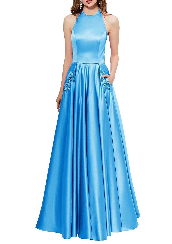 Beauty Bridal Women\'s Halter Beaded Satin Prom Dresses With Pockets ...