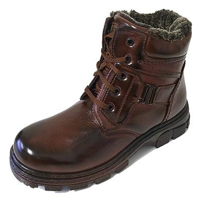 Amazon.com | F-07 Men's Winter Boots Ankle Fashion Lace up Fur ...