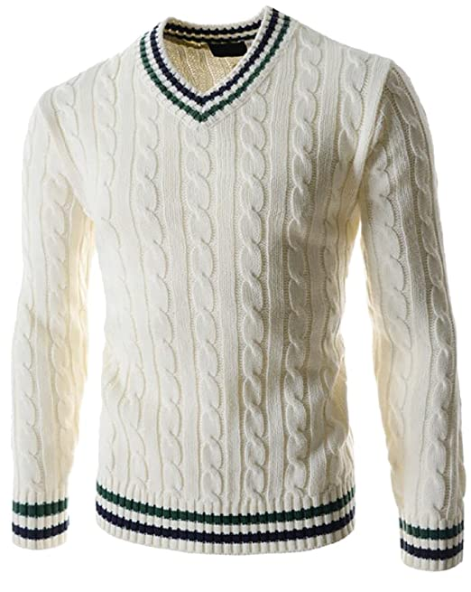 Men's Vintage Style Clothing V-Neck Thick Knit Cable Pullover Sweaters $18.75 AT vintagedancer.com
