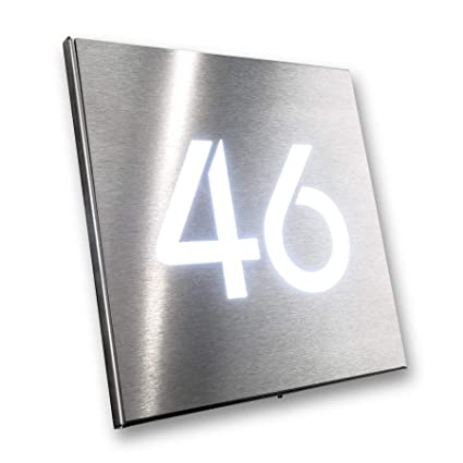 5f3ab4bf61d3 Metzler-Trade house number sign stainless-steel plate waterproof LED  illuminated square - product dimensions: 7.87 x 7.87