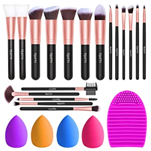 TEATTY Makeup Brushes 18 PCs Makeup Brush Set 2 PCS Silicone Face Mask Brush&4 Blender Sponge&1 Brush Cleaner Premium Synthetic Foundation Powder Concealers Eye Shadows Makeup Brushes Kit (Rose Gold)