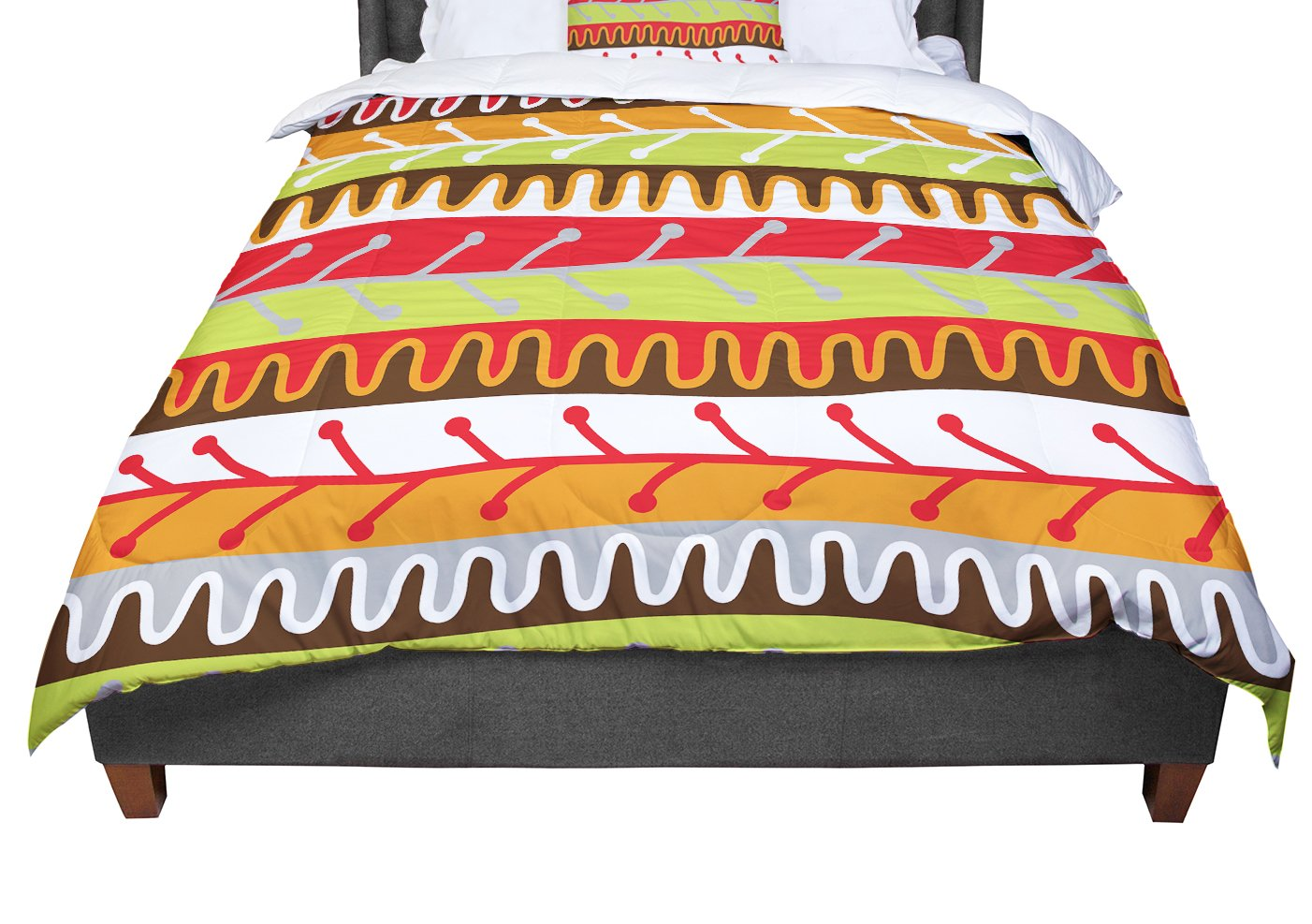 Orange Yellow Red King 104 X 88 Cal King Comforter KESS InHouse Jacqueline Milton Salsa