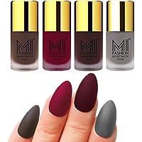 MI Fashion Nail Polish Matte Coffee, Mauve, Wine, Grey Velvet Matte Nail Paints Set of 4 Pcs 9.9ml each