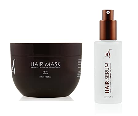 Hair Mask And Argan Oil Hair Serum Set – Deep Conditioning Mask For Soft Hair Texture – Hair Mask Serum For Frizzy Hair – Argan Oil Mask From Herstyler – Hair Care Set