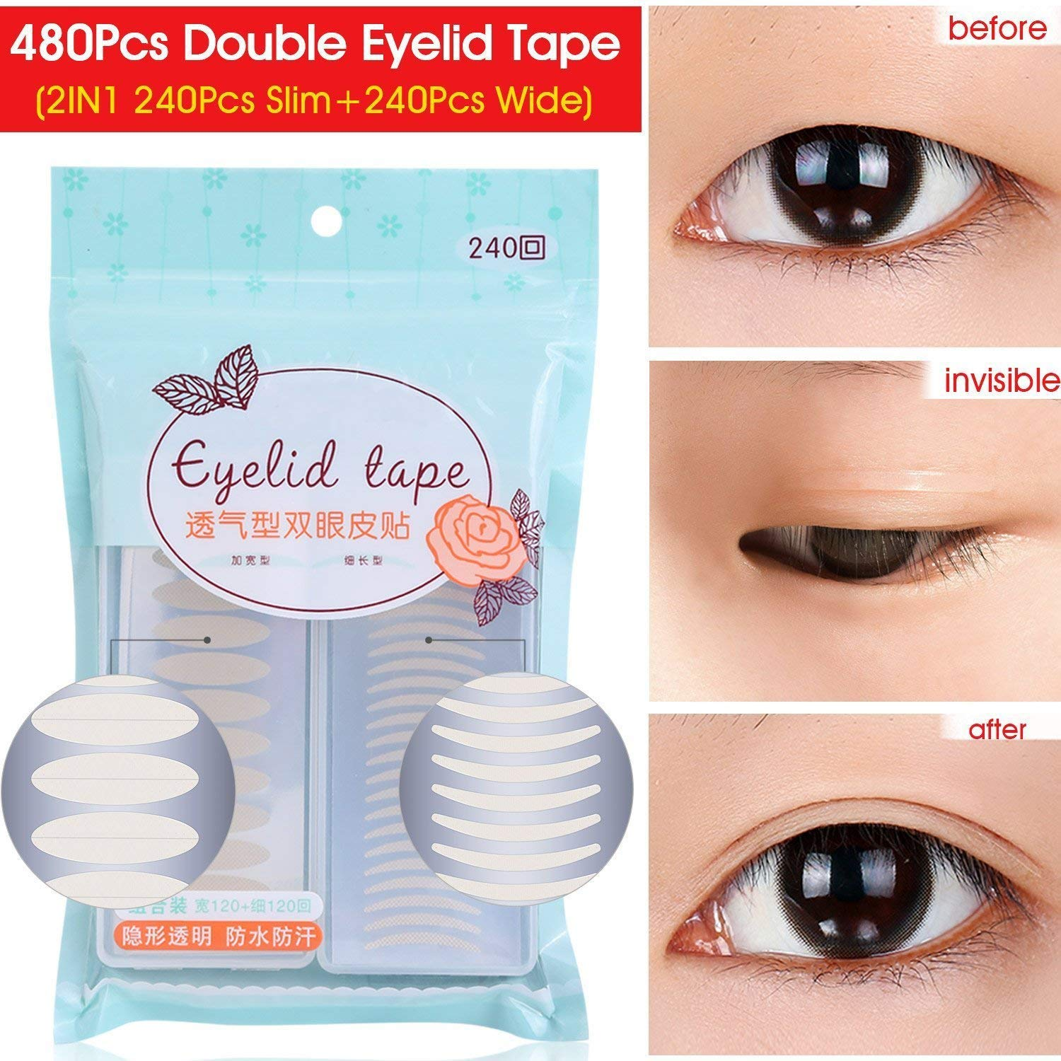 480PCS Invisible Single Side Sticky Fiber Double Eyelid Tapes Stickers, Perfect for Hooded, Droopy, Uneven, Small Eyes, or Mono-eyelids, 240PCS Slim + 240PCS Wide (240 Pairs, Wide + Slim) Pormasbenzer