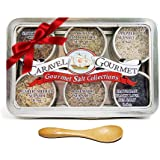 Gourmet Sea Salt Gift Set Infused w/Natural Herbs & Spices 5 Pepper Rosemary Smoked Bacon Chipotle Hawaiian Black Lava Garlic Medley & Bamboo Jade Gluten Free No-MSG Non GMO Paleo 1/2 oz each