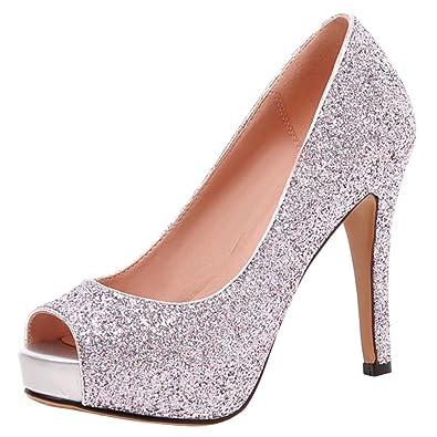 AIYOUMEI Damen Glitzer Peep Toe Pumps mit Plateau Stiletto High Heels Abend Schuhe