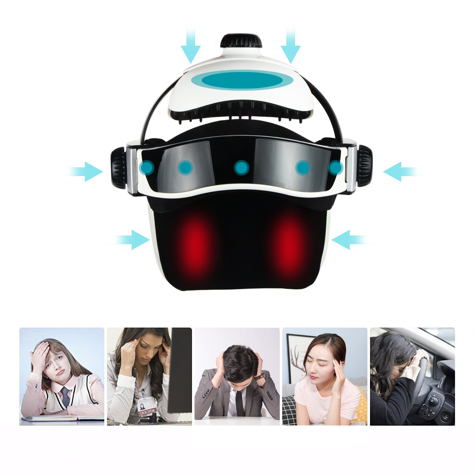 REAQER Electric Head Massager Multifunctional Massage Helmet with Soothing Music and Air Pressure to Relax and Relieve The Headache by REAQER (Image #3)