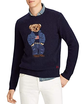 26c33571 Amazon.com: Polo Ralph Lauren Polo Bear Wool Sweater (Navy, M): Clothing