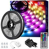 Lepro led strip 5m, kleur veranderende ledstrip met IR afstandsbediening, led lights strip RGB dimbaar, lichtband voor…