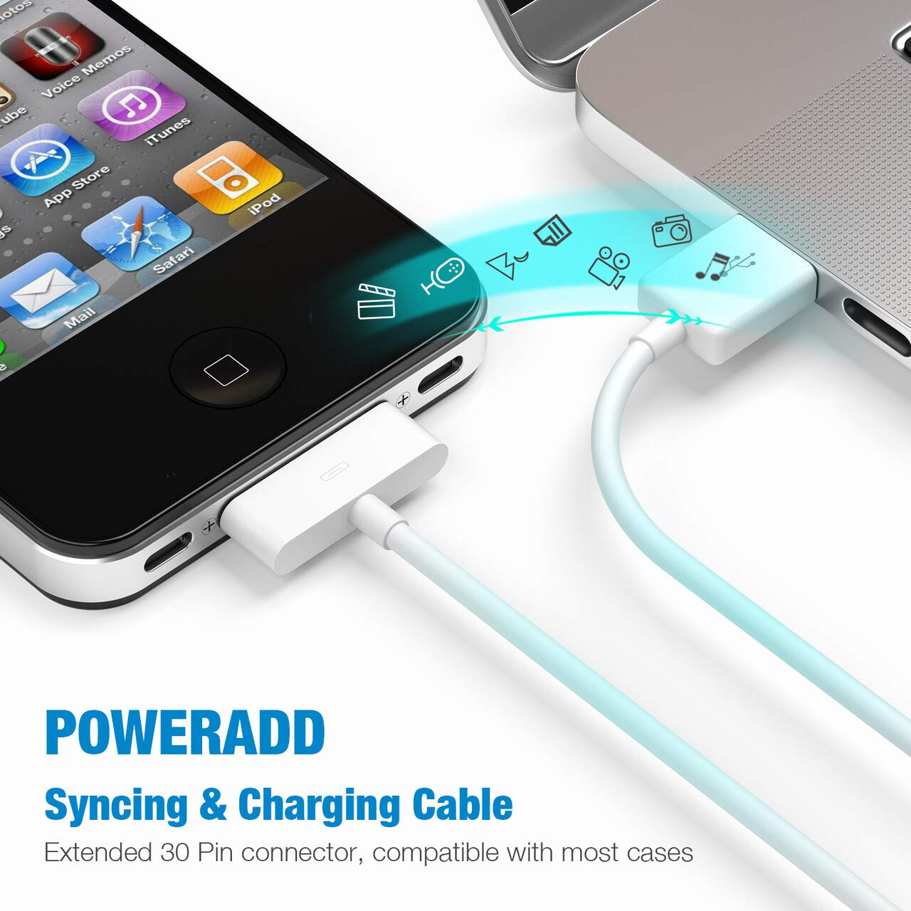 Powerlet Straight to Apple 3G-4s 12 Charging Cable PPC-034-SC Powerlet