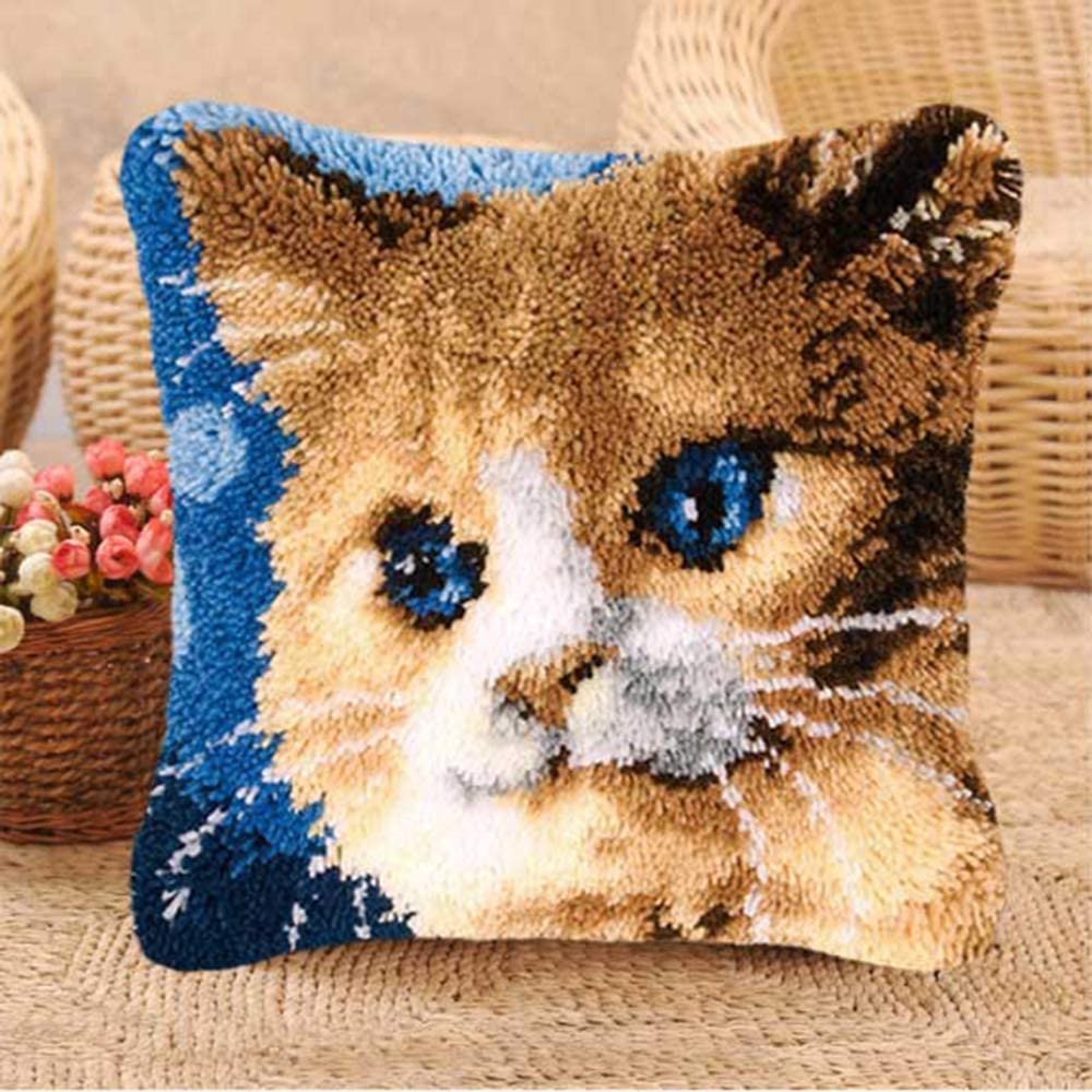 BZ-263 16.9 X 16.9 inch VECANCE Cat Latch Hook Kits DIY Throw Pillow Cover Rug Cute Kitten Pattern Printed Pet Pillowcase Embroidery Needlework Craft for Home Decoration