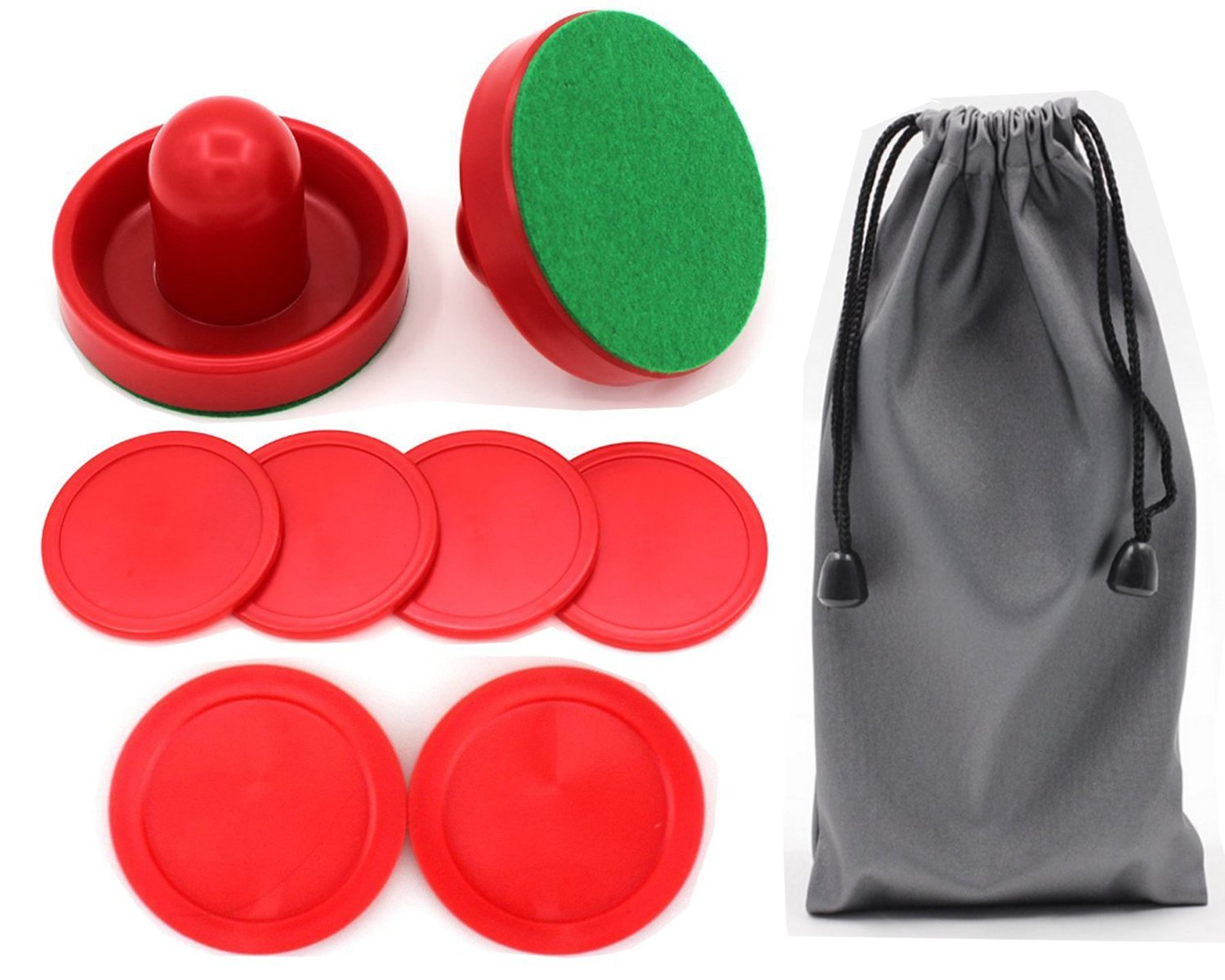 Qtimal Home Standard Air Hockey Paddles and 2 Size Pucks Small Size for Kids Large Size for Adult Great Goal Handles Pushers Replacement Accessories for Game Tables 2 Striker 6 Puck Pack