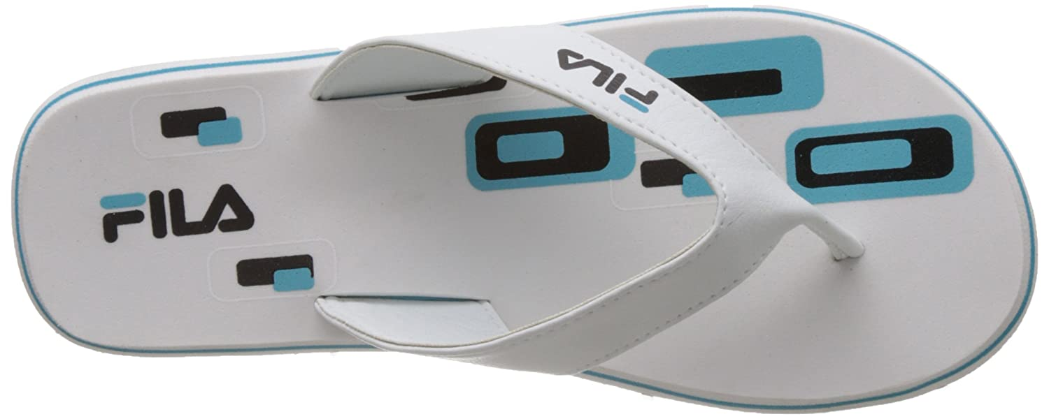 96dfea87b04 Fila Women s Cammy White and Aqua Blue Flip Flops Thong Sandals -7 UK India  (41 EU)  Buy Online at Low Prices in India - Amazon.in
