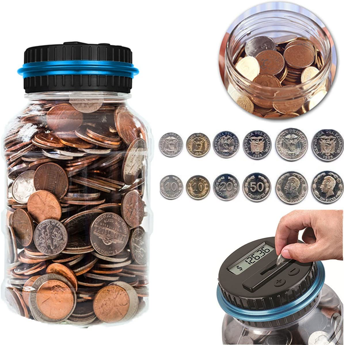 Electronic Digital LCD Pound Coin Counter Money Saving Jar Box Piggy Bank Xmas