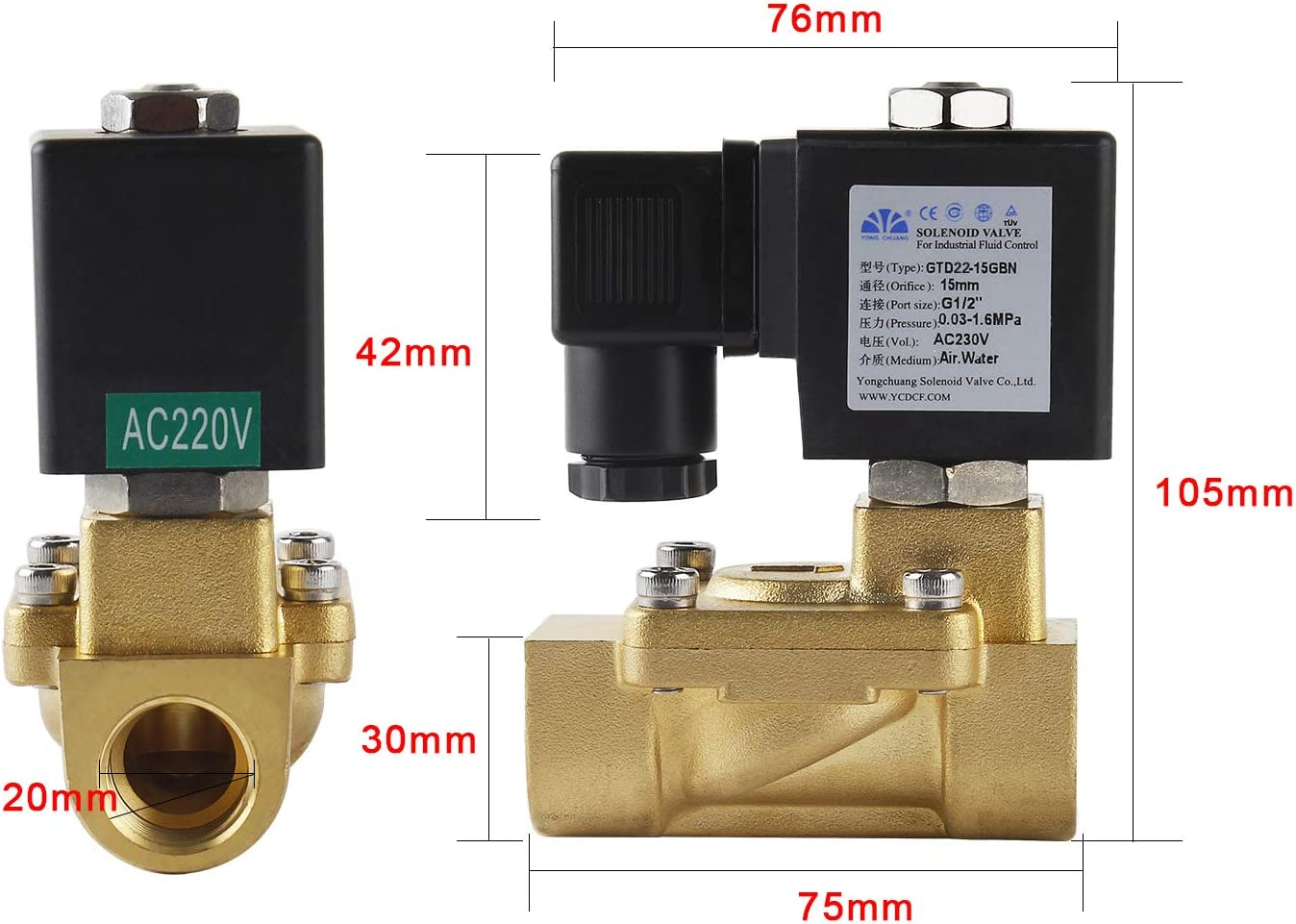 /Électrovanne 1//2 Pouce Laiton 230V 0,3-16bar Membrane Diaphragme NC