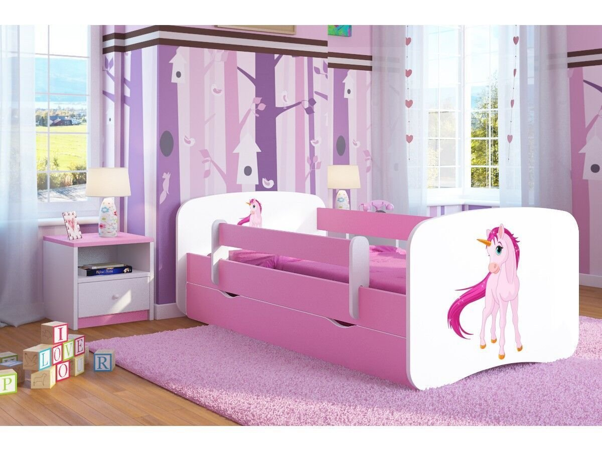 Pink Toddler Girl Bed Kids Bed Junior Children's Single Bed with Mattress and Storage Included - Baby Dreams (Small (140x70), 3. Unicorn) Wonderhome24
