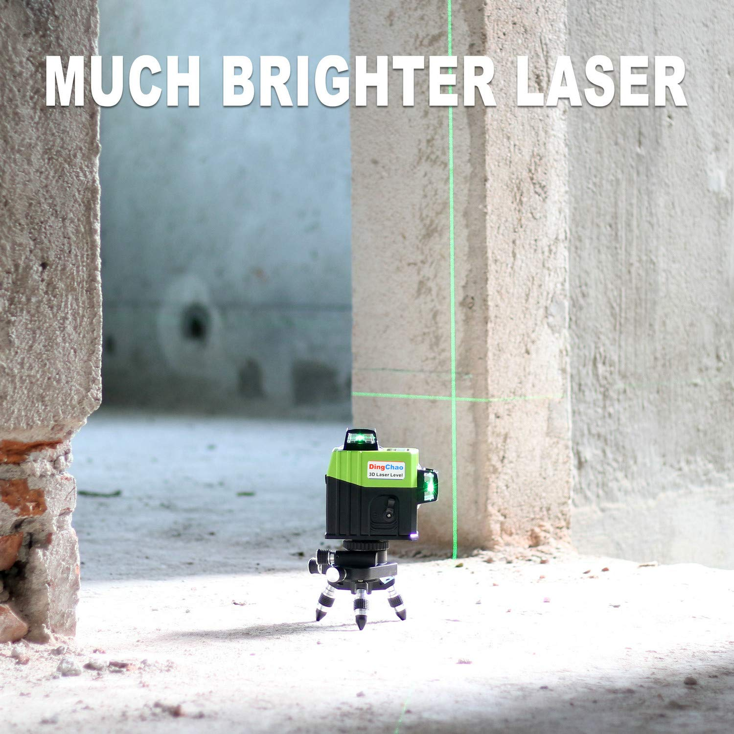 Dingchao Self-Leveling Three-Plane 3 x 360 Green Line Laser Level,with Micro-Adjust / 360 Degree Pivoting Base, Hard Carrying Case,Power Plug Adapter,Multi-functional Laser Leveler Layout Laser Tools by DINGCHAO (Image #3)