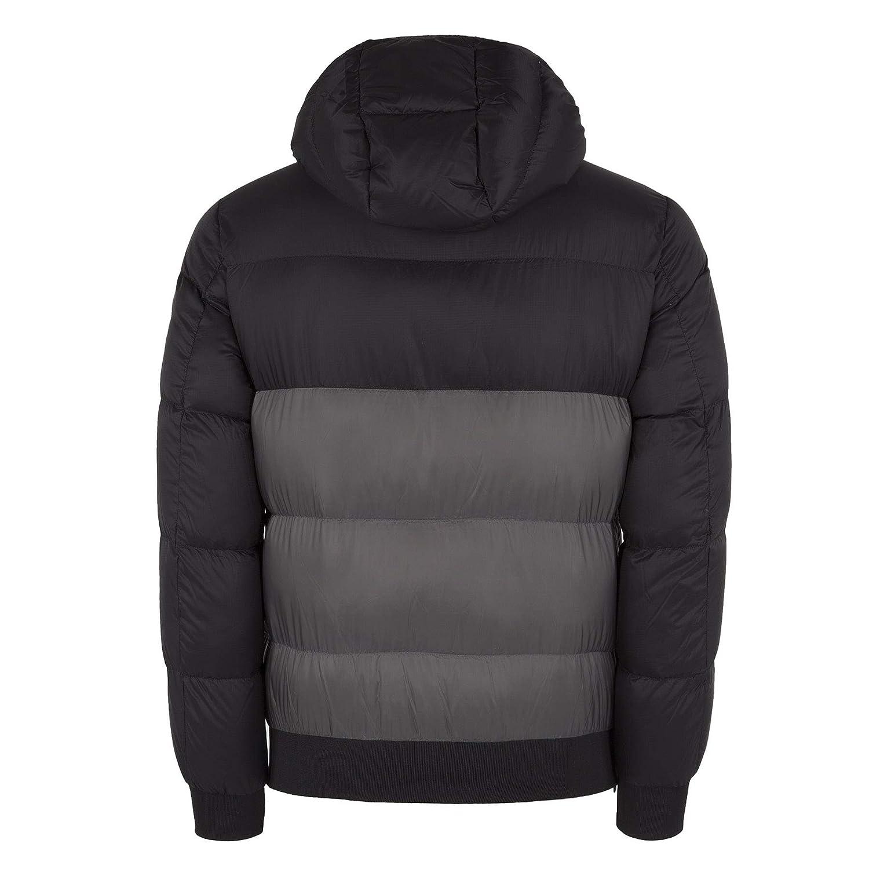 Black Grey Jacket Hooded Mix Armani Emporio Puffer Down Jeans EDH2YI9eW