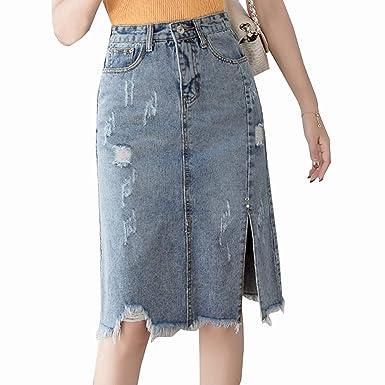 6ba5464975 Fralina Spring Summer Hole Split Denim Skirts Women Solid Color High Waist  Pencil Skirt Long Plus